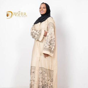 Shop in Eastleigh | Champagne Gold Abaya with Black Floral Detail For Sale