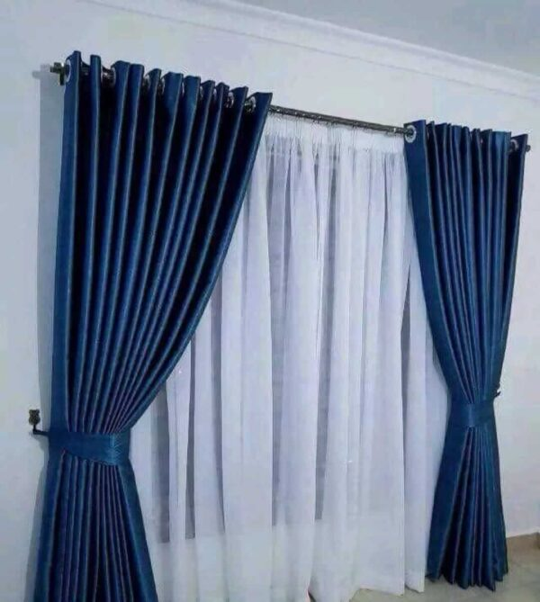 Shop in Eastleigh | Heavy Blue Curtains With White Sheers For Sale