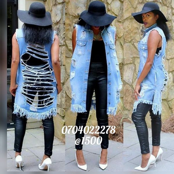 Shop in Eastleigh | Ladies Distressed Long Denim Jacket For Sale