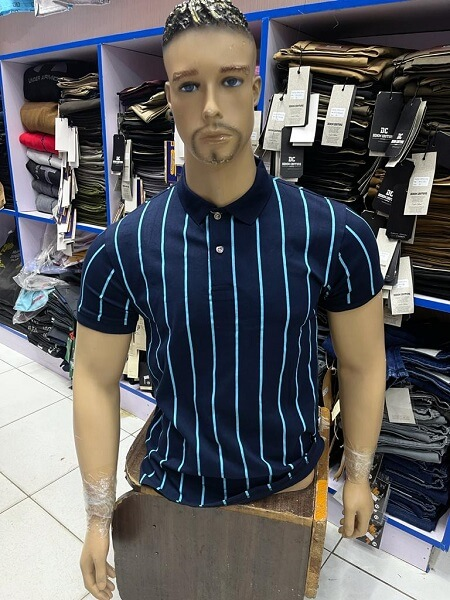 Shop in Eastleigh | Blue Fashion Mens Polo Shirts Casual Shirt with White Stripes For Sale