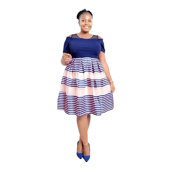 Shop in Eastleigh | Fashion Official Striped Skater Dress With Plain Top For Sale