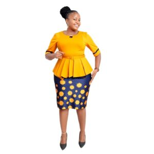 Shop in Eastleigh | Yellow Dotted Official Peplum Skirt Suit For Sale