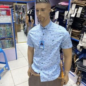 Shop in Eastleigh |  Blue Floral Short Sleeved Men Casual Shirt For Sale