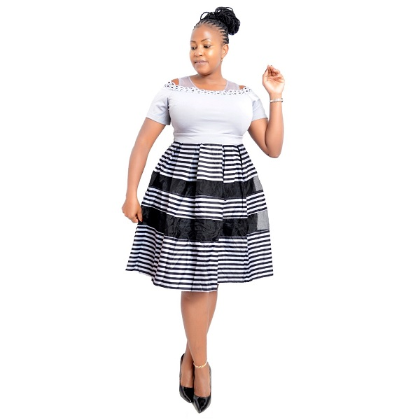 Shop in Eastleigh    Fashion Official Striped Skater Dress With Plain Top For Sale