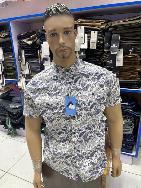 Shop in Eastleigh | Grey Floral Short Sleeved Slim Fit Men Casual Shirts For Sale