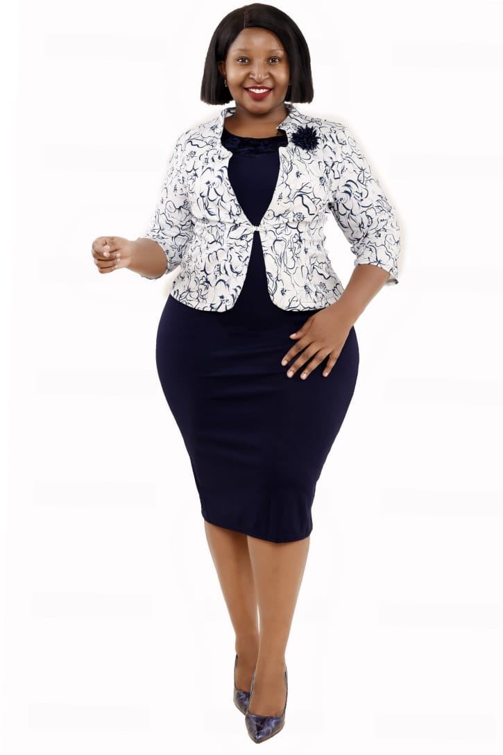 Shop in Eastleigh    Business Pencil Dress With A Floral Jacket For Sale