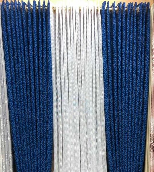 Shop in Eastleigh | Heavy Blue Patterned Curtains and White Sheers For Sale