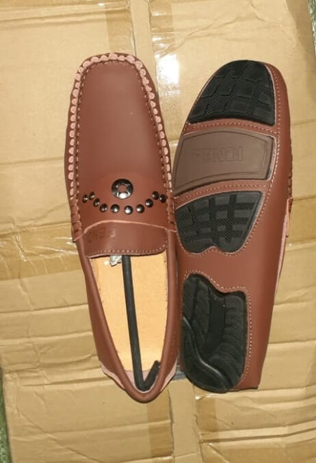 Shop in Eastleigh |  Fendi Leather Studded Slip on Loafer Shoes For Men For Sale