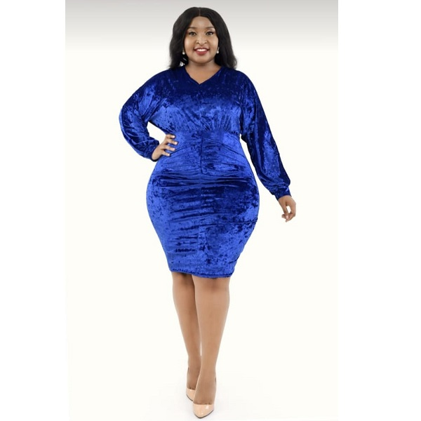 Shop in Eastleigh | Long Sleeves Casual Velvet Dress For Sale