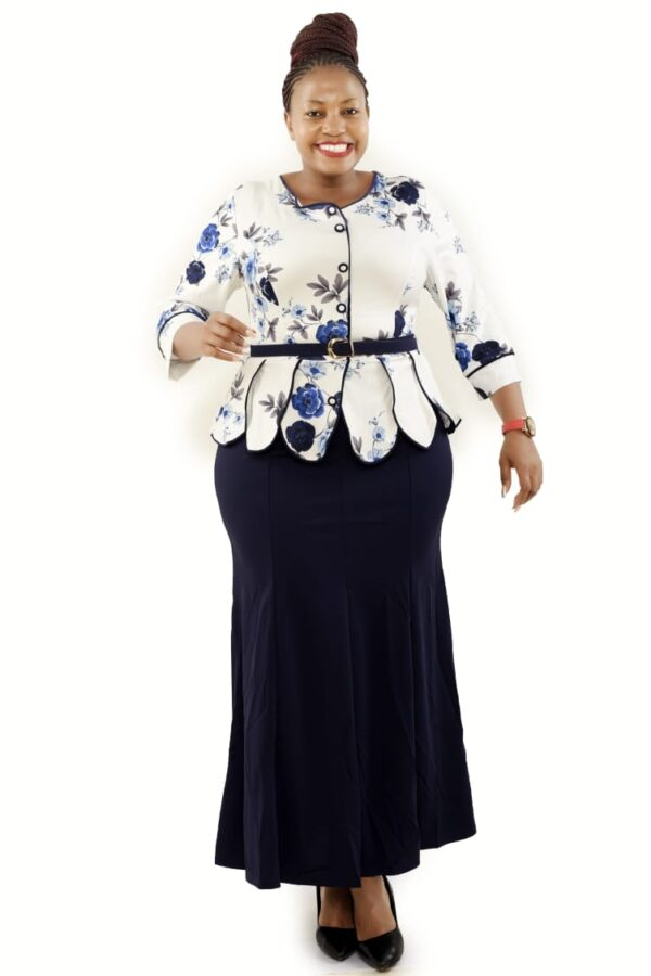 Shop in Eastleigh | Long Dress with Floral Peplum Top with Belt For Sale