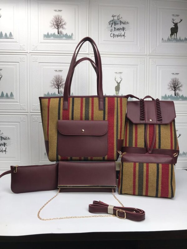 Shop in Eastleigh | 5 in 1 Ladies Leather Multicolored Stripped Handbags For Sale