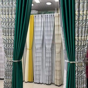 Shop in Eastleigh | Two Tone Curtain with Floral and Plain Block Color Curtains For Sale