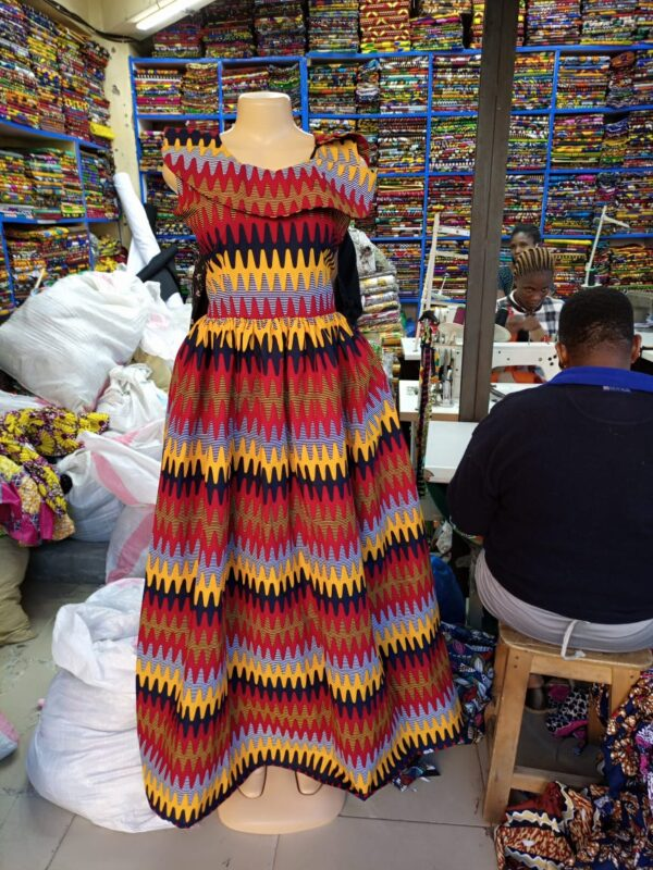 Shop in Eastleigh | Multi Colored Ankara Print Round Neck Sleeveless Dress For Sale